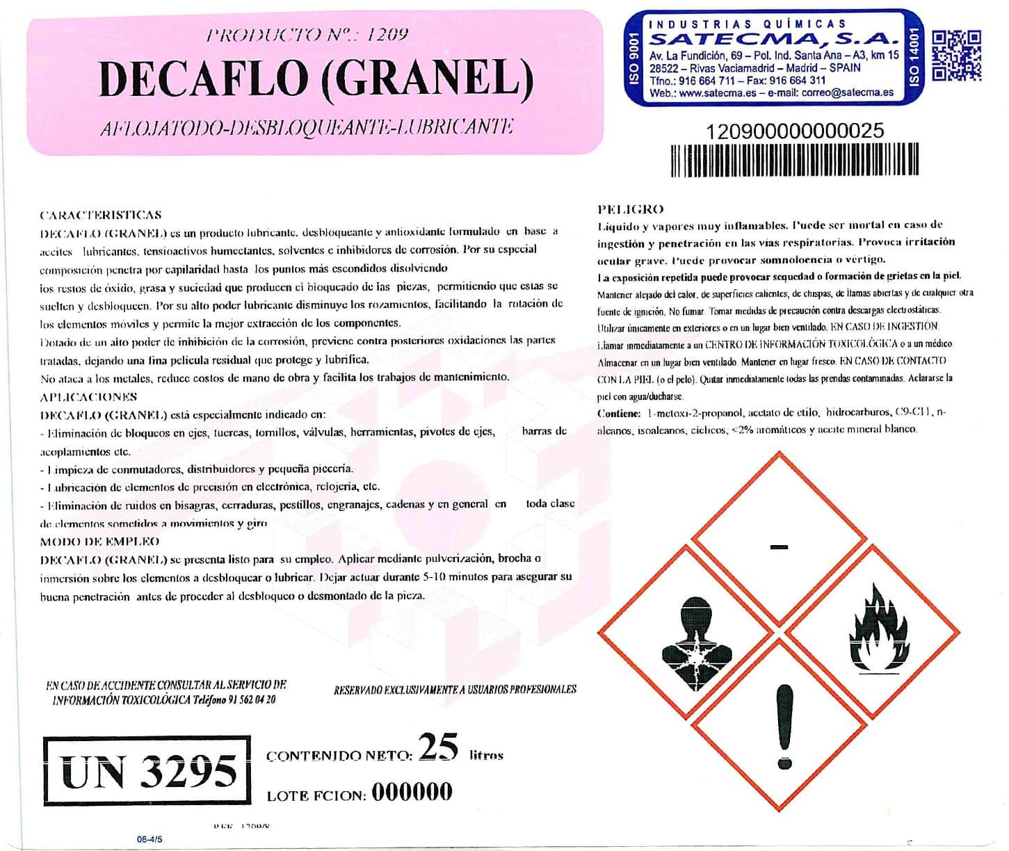Etiqueta decaflo granel