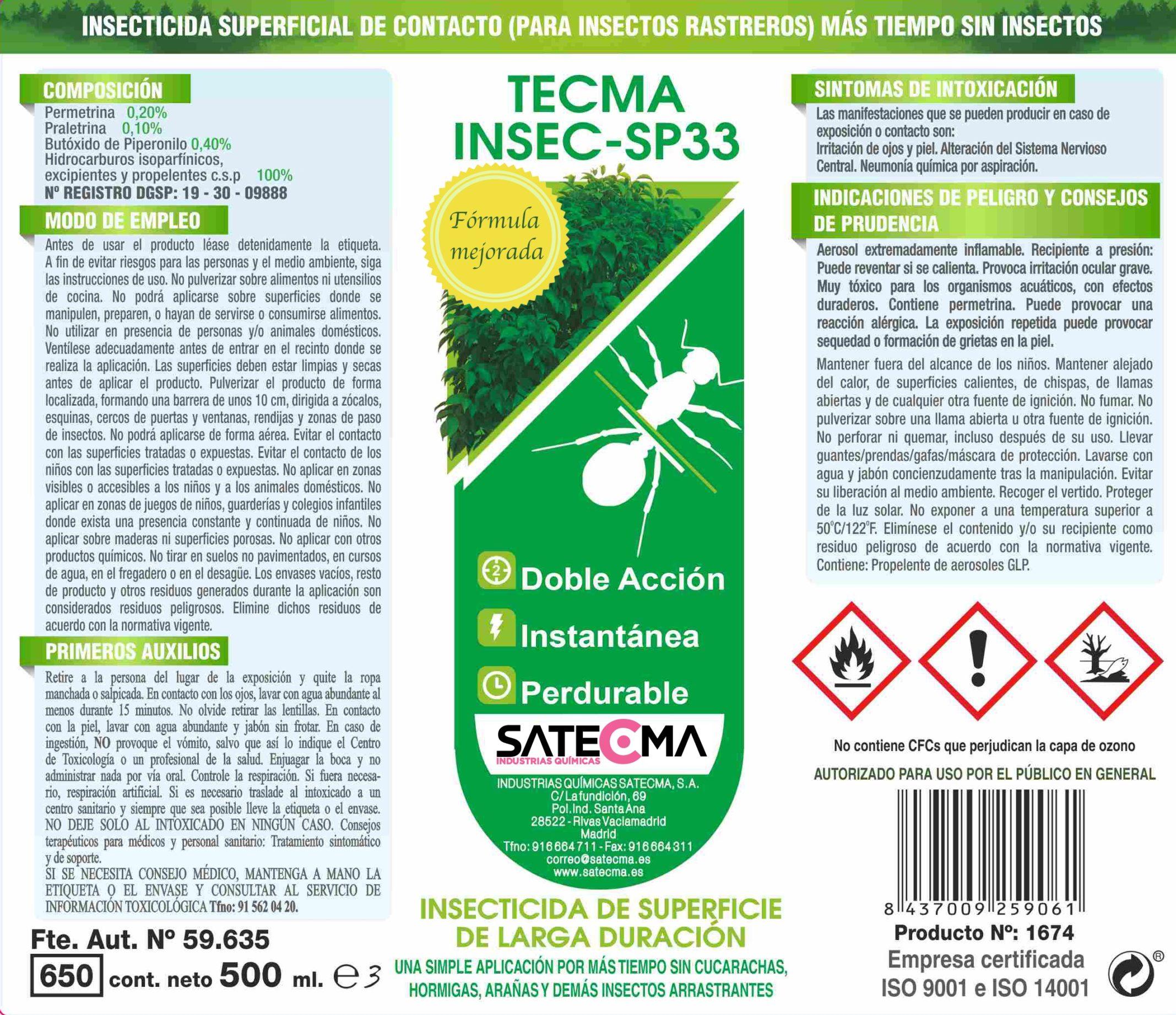 etiqueta tecma insec sp33