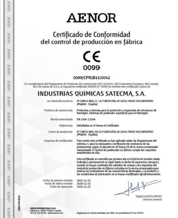 Certificado CE 2018 norma EN 1504-2:2004