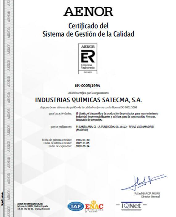 certificado aenor 2017 calidad