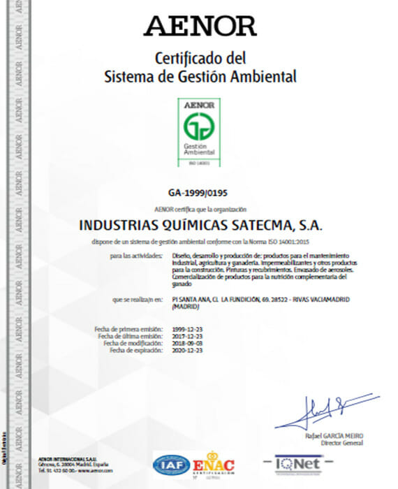 Certification de Aenor 2018