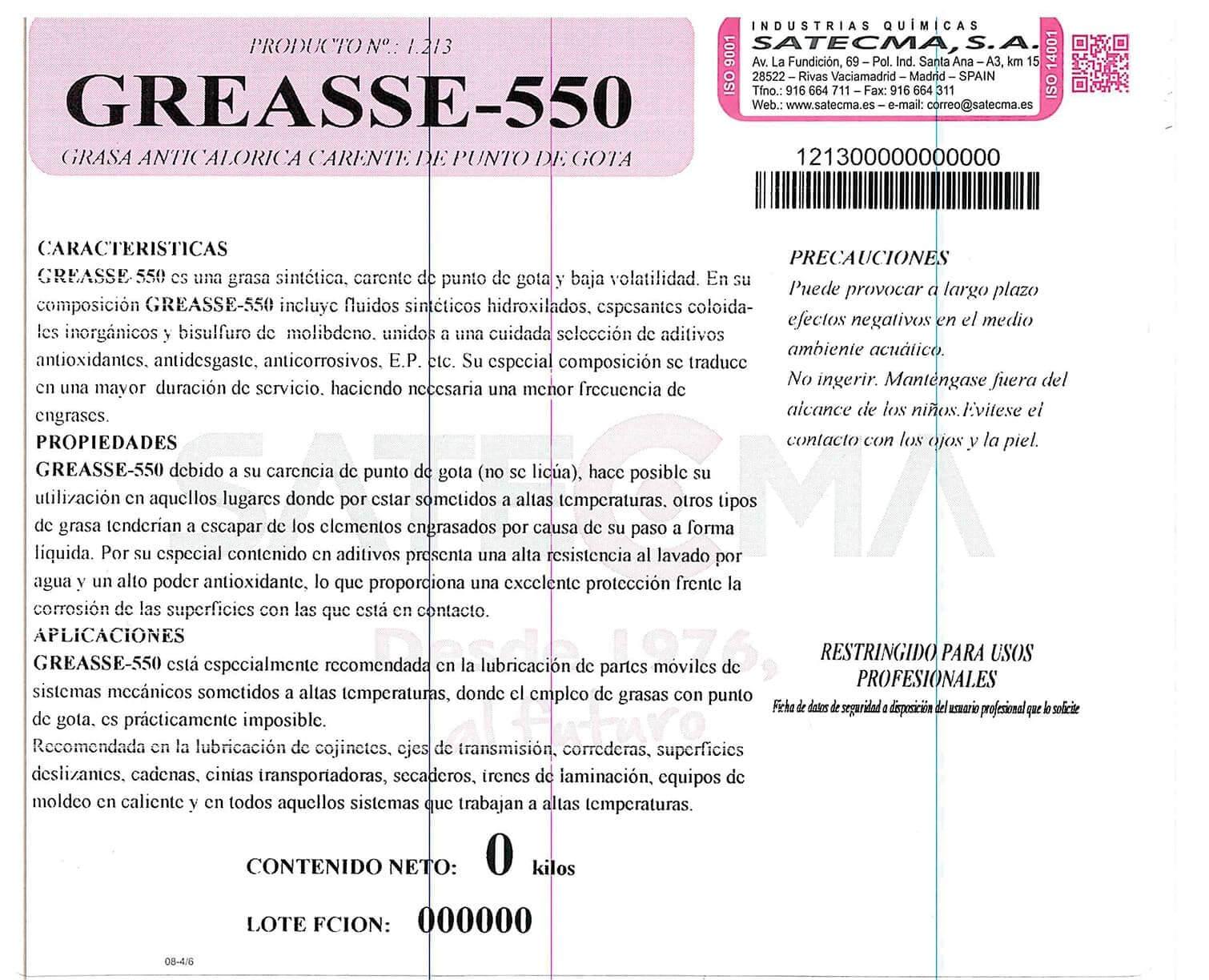etiqueta greasse 550