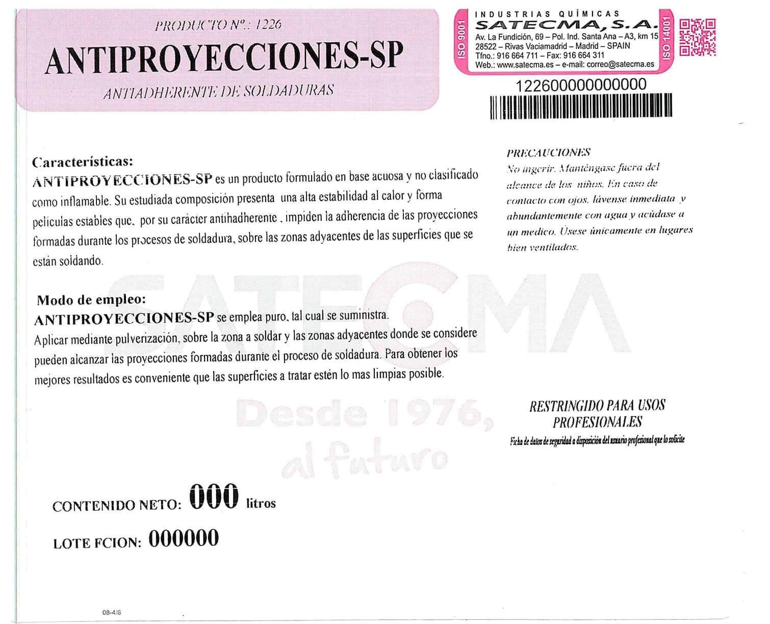 etiqueta ANTIPROYECCIONES-SP
