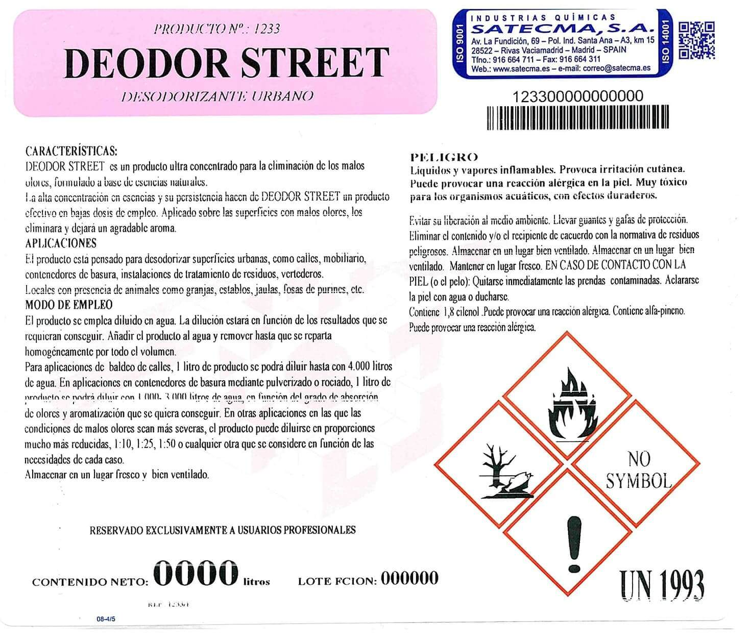 etiqueta DEODOR-STREET
