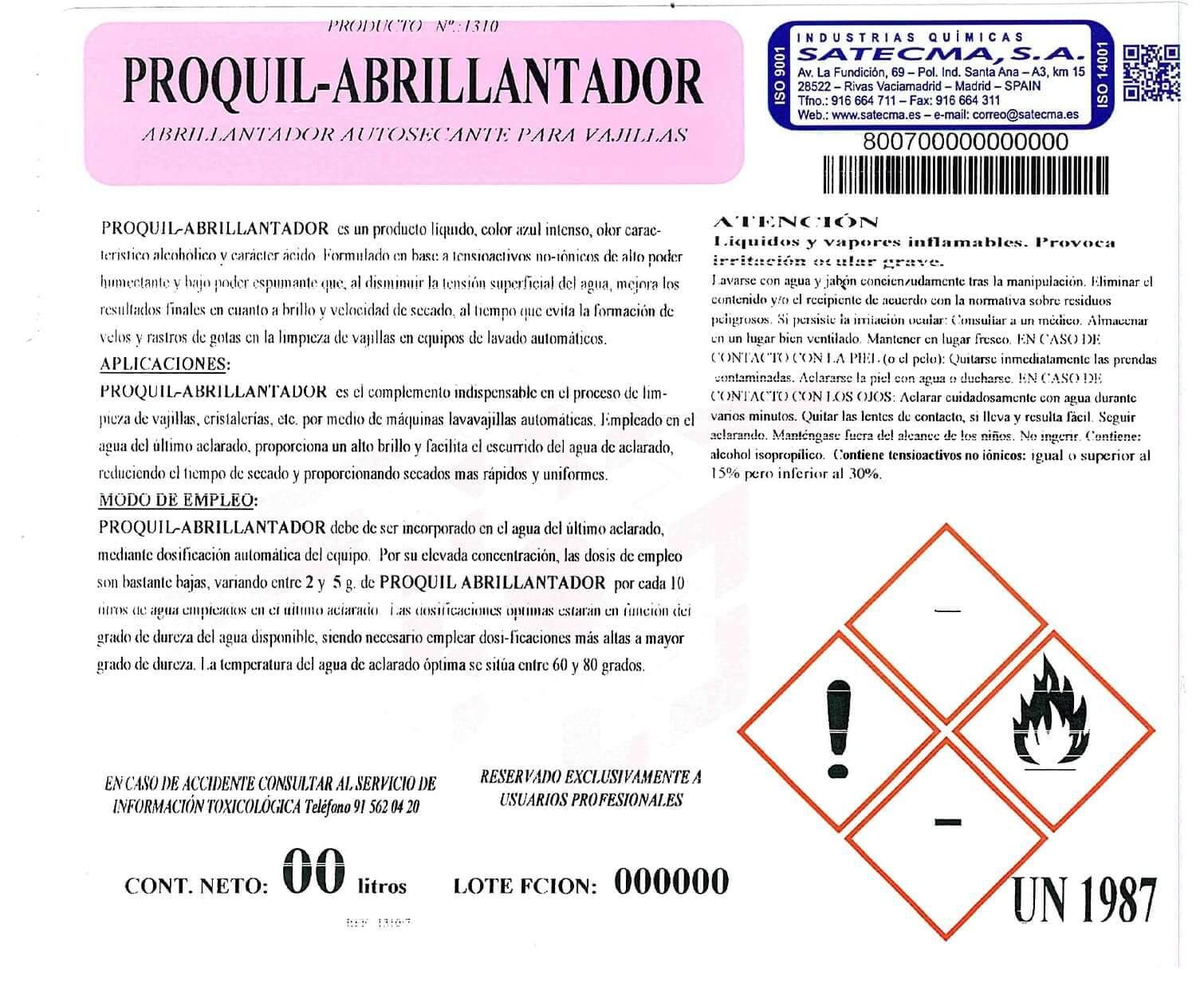 etiqueta abrillantador