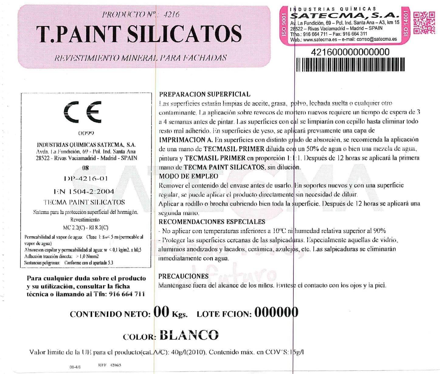 etiqueta paint silicato