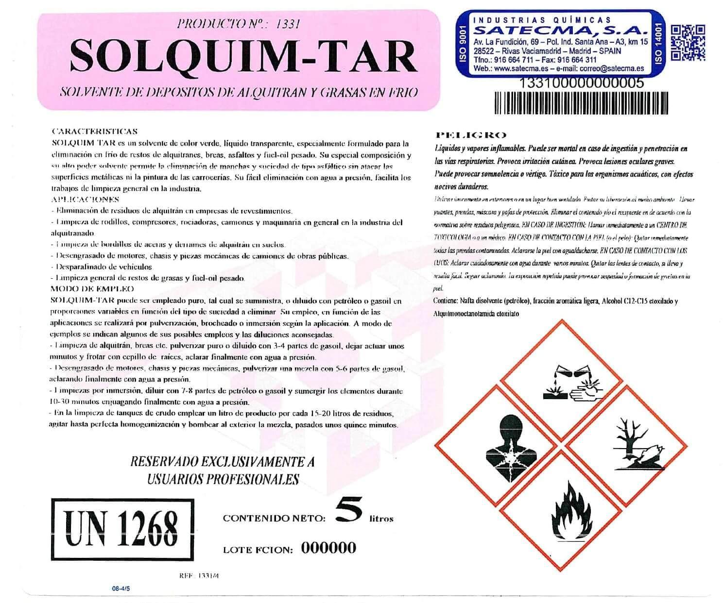 etiqueta solvente depositos