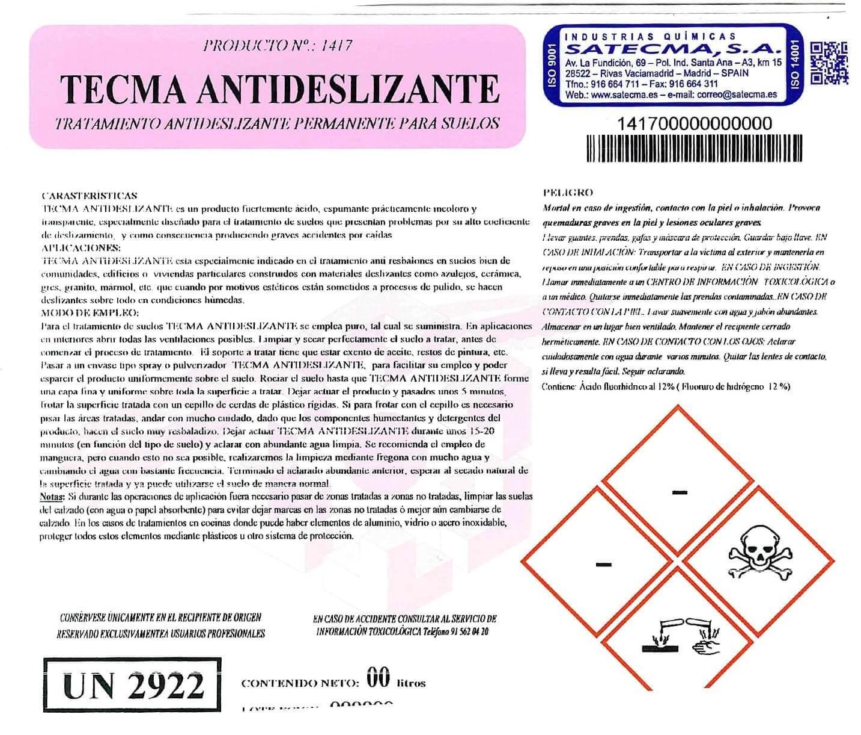 etiqueta antideslizante