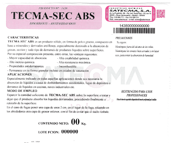 etiqueta absorbente-antiderrapante