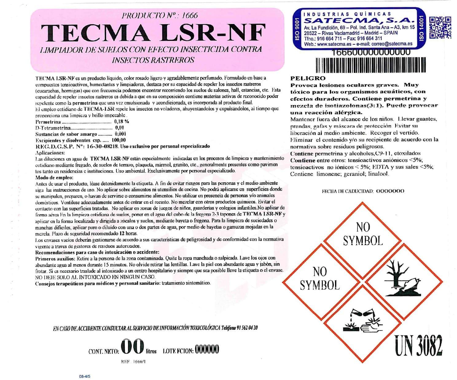 Etiqueta limpiador insecticida