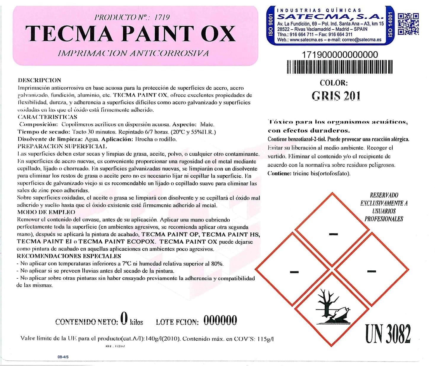 imprimación anticorrosiva etiqueta