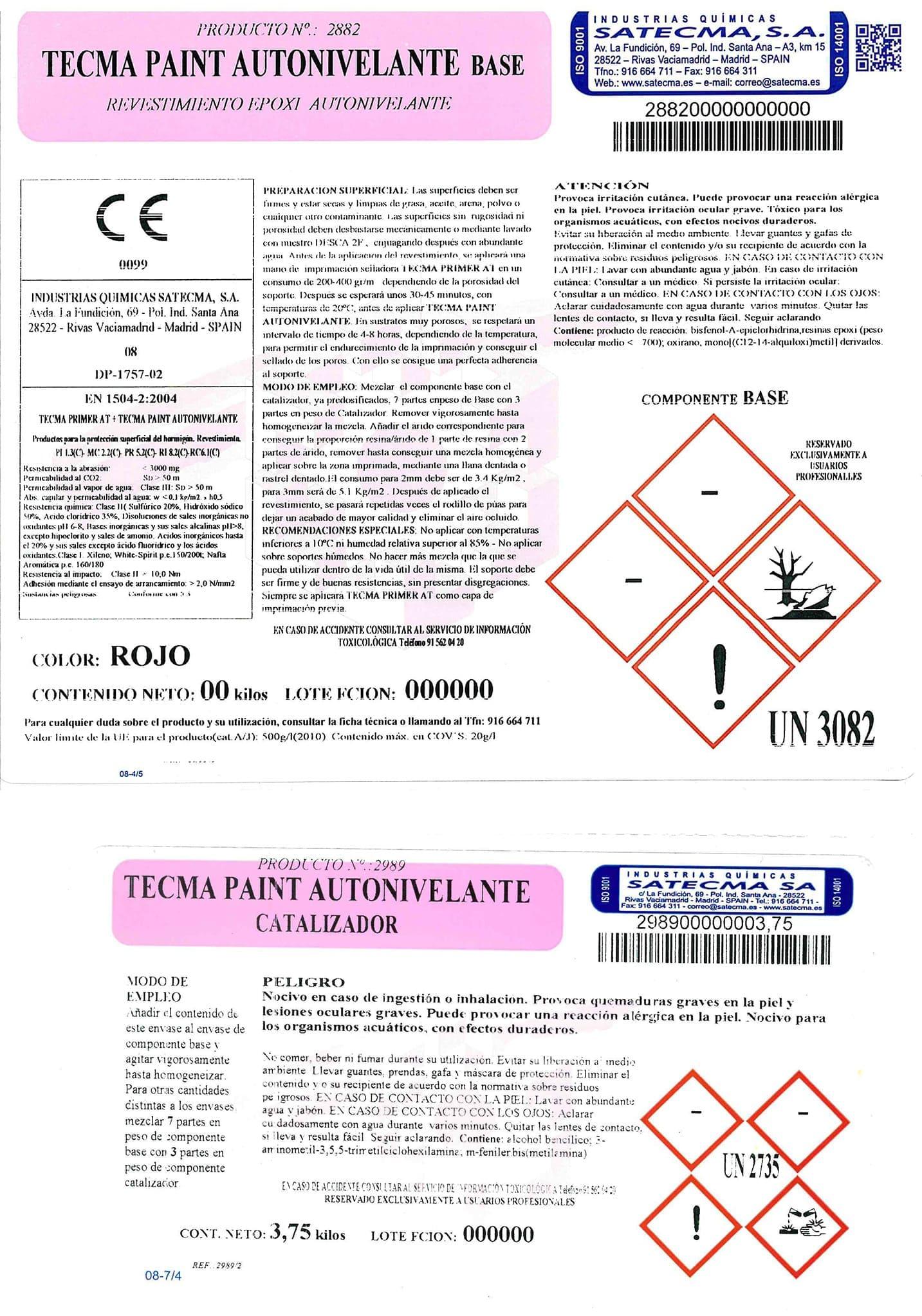 etiqueta revestimiento epoxi autonivel