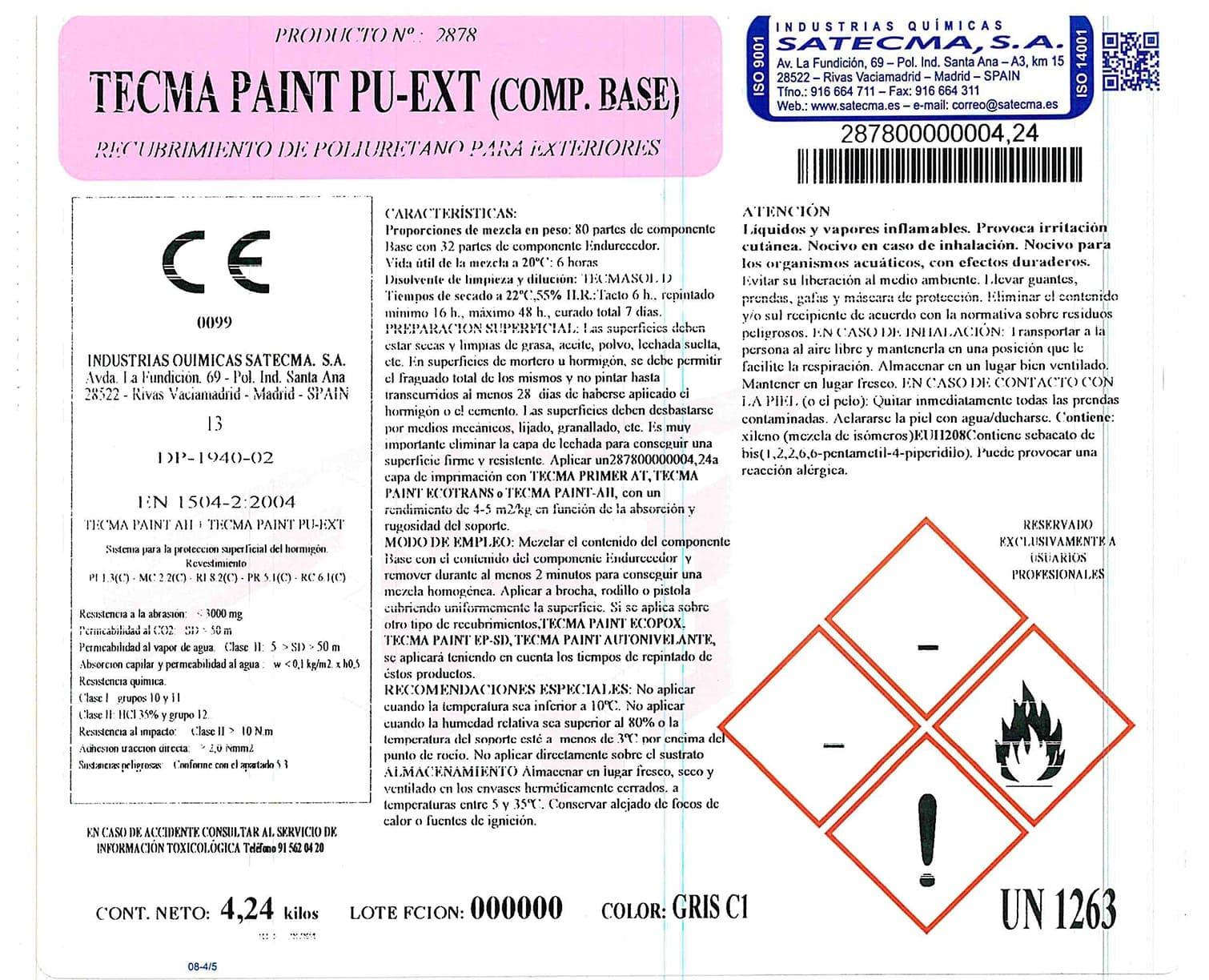 recubrimiento poliuretano etiqueta
