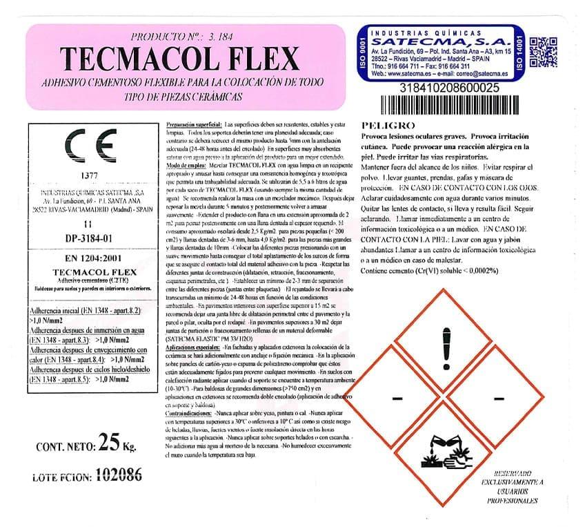 etiqueta adhesivo cementoso