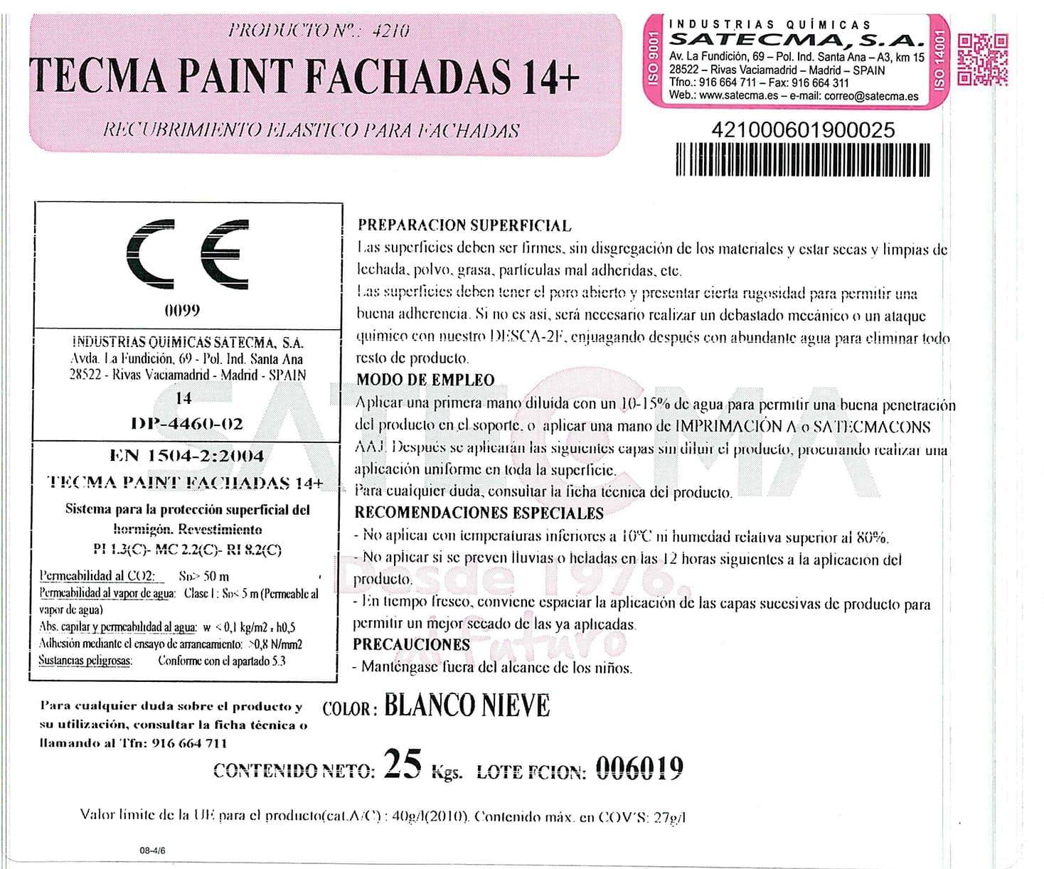 etiqueta recubrimiento elástico fachadas