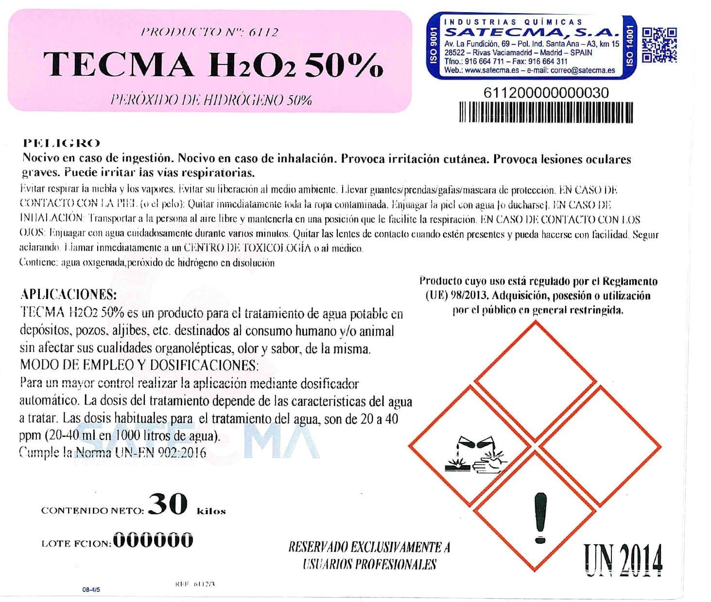 peróxico de hidrógeno etiqueta TECMA-H2O2-50