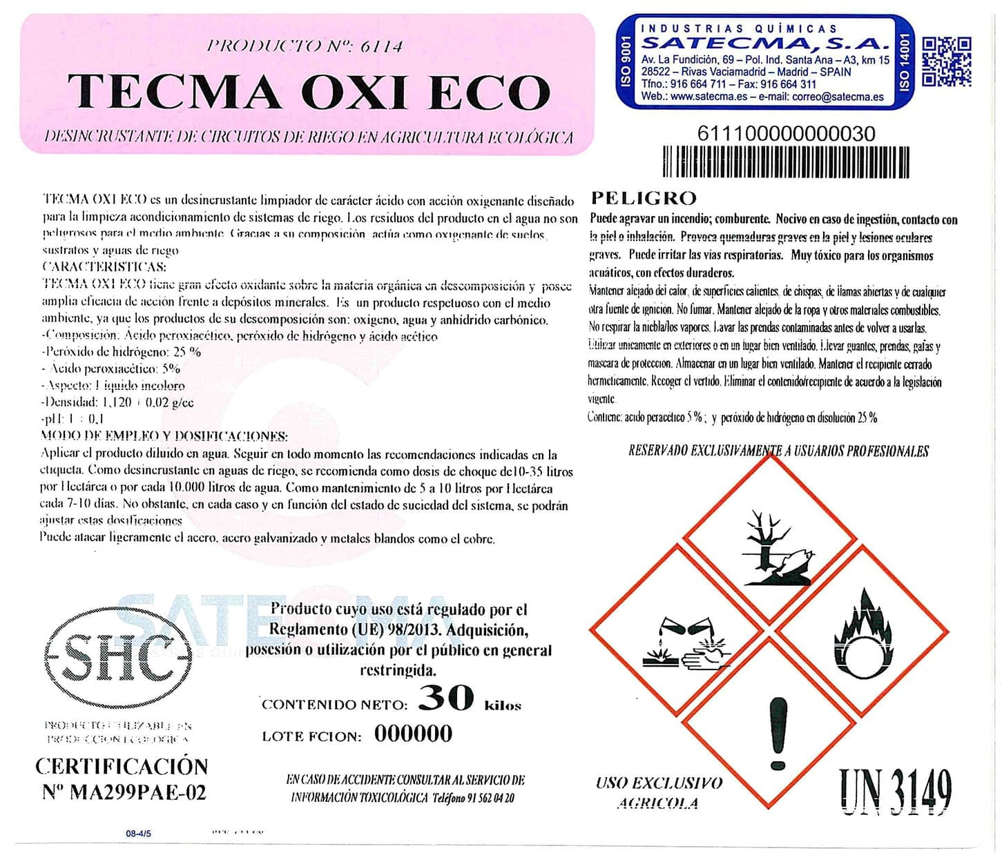 limpieza circuitos de riego TECMA-OXI-ECO-ETQ