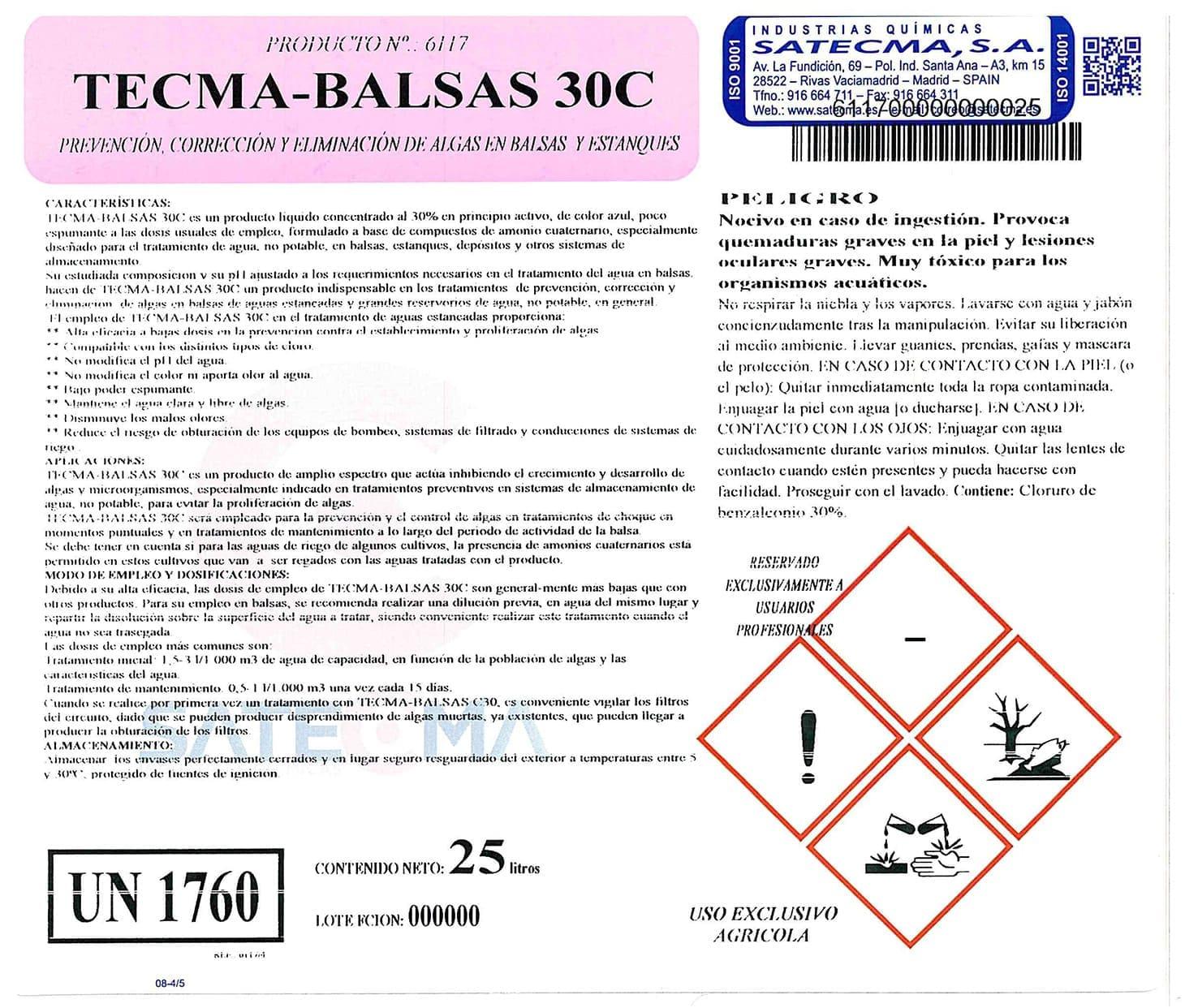 etiqueta PREVENCIÓN ELIMINACIÓN ALGAS TECMA-BALSAS-30-C-ETQ