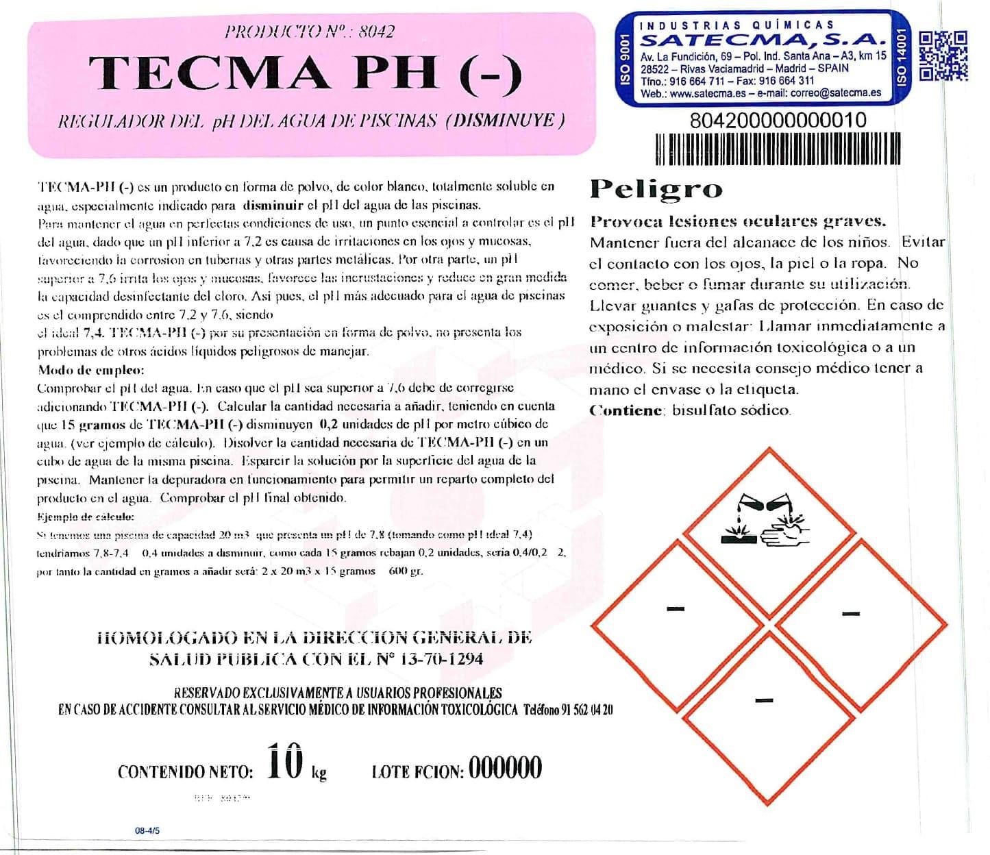 regulador ph etiqueta