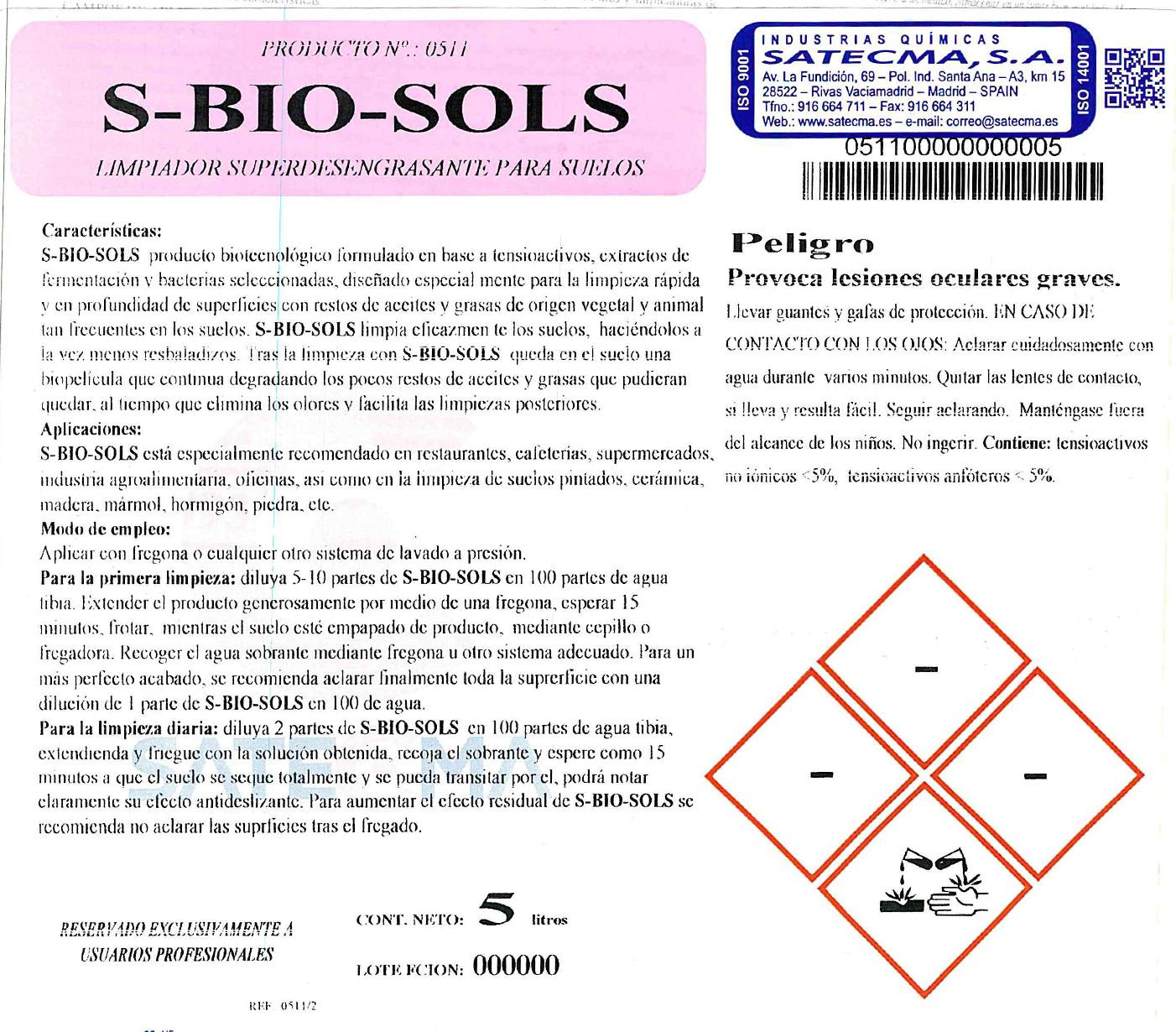 ETIQUETA S-BIO SOLS