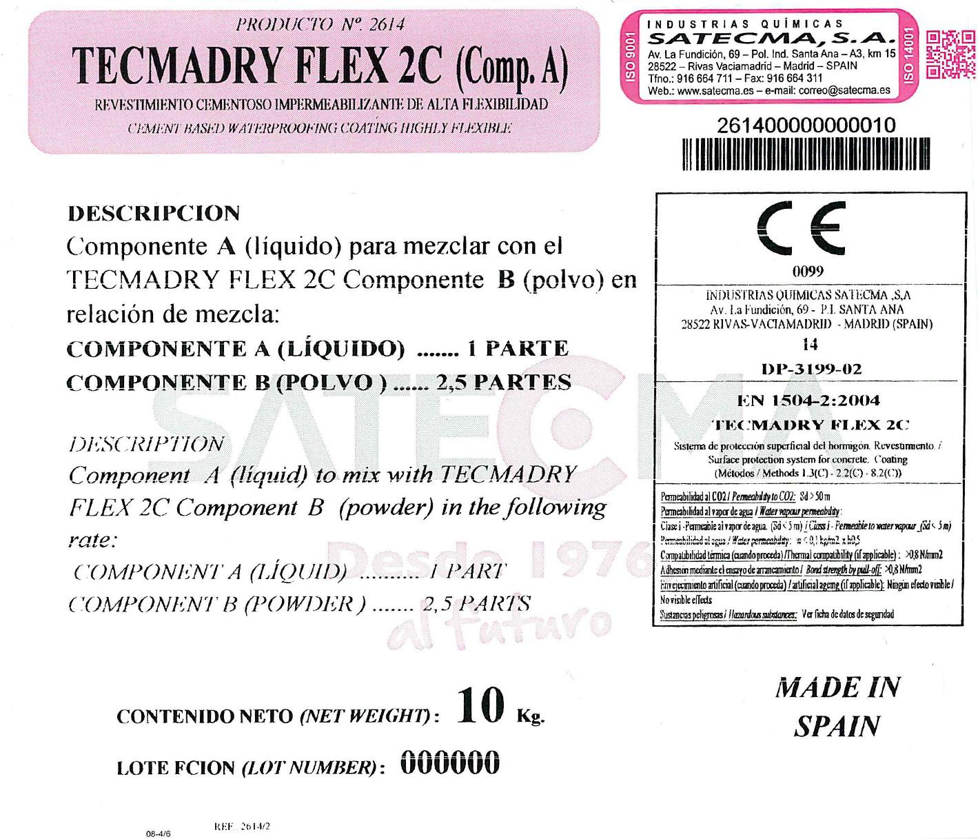 etiqueta componente A tecmadry Flex