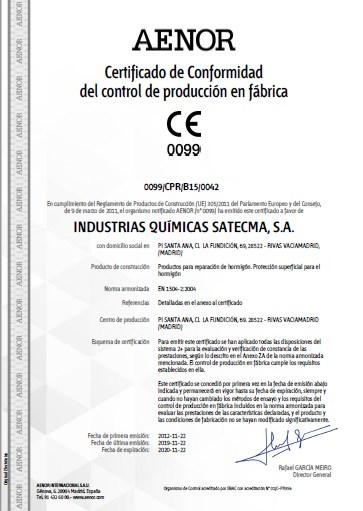 Certificado CE 2019 norma EN 1504-2:2004