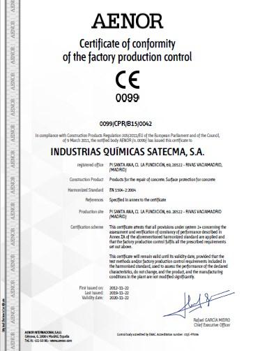Certificate CE 2019 norme harmonisée EN 1504-2: 2004