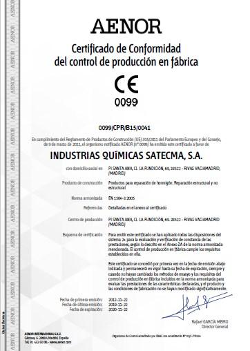 Certificado CE 2019 norma EN 1504-3:2005