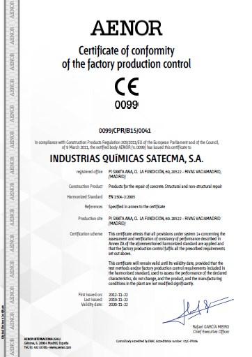 Certificate CE 2019 norme harmonisée EN 1504-3:2005