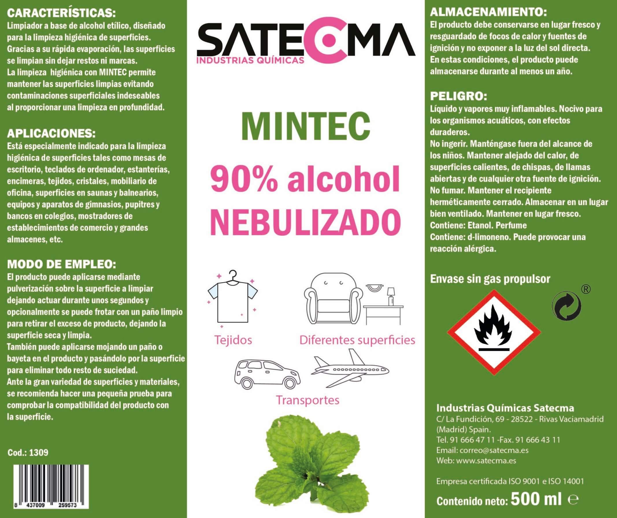 etiqueta Mintec limpiador alcohol mentolado