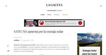 noticia La Gaceta satecma placas solares