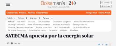 noticia Bolsamania satecma placas solares