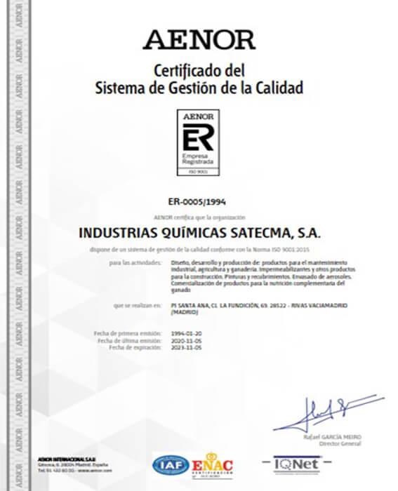 Certification Quality Aenor