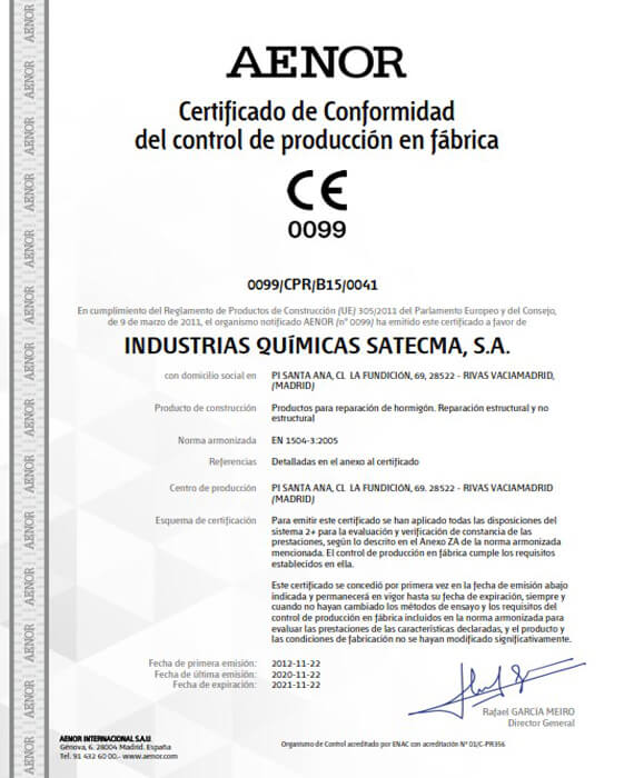 Certificado CE norma EN 1504-3