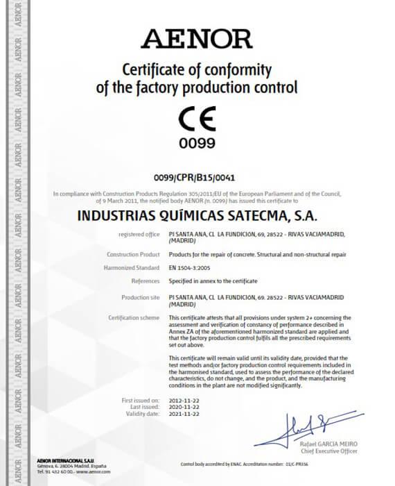 Certificate CE 2019 norme harmonisée EN 1504-3