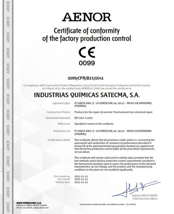 Certificate CE harmonised standard EN 1504-3