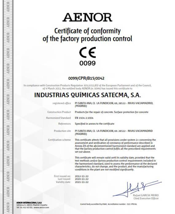 Certificate CE 2019 norme harmonisée EN 1504-2
