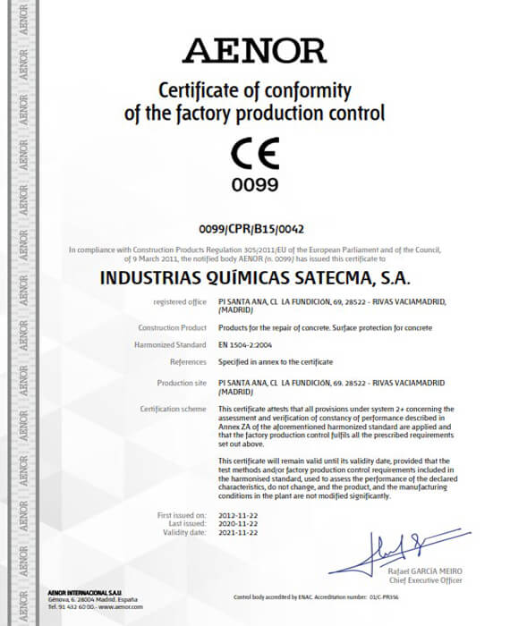 Certificate CE harmonised standard EN 1504-2