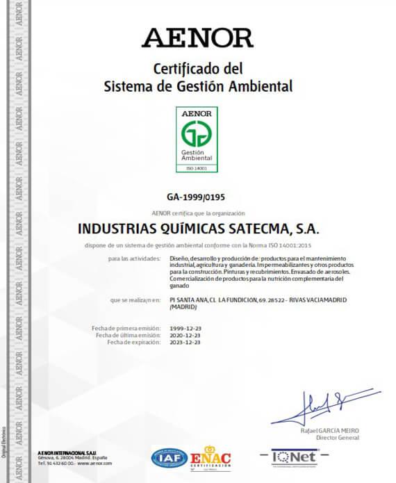 Certification environmental Aenor