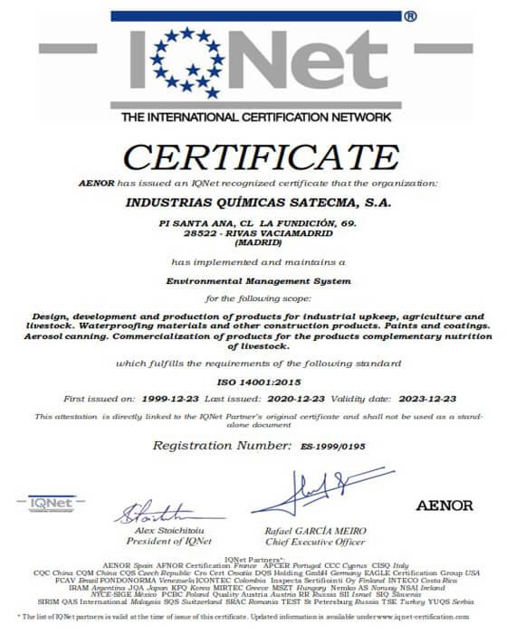 Certificat Environnemental IQNet